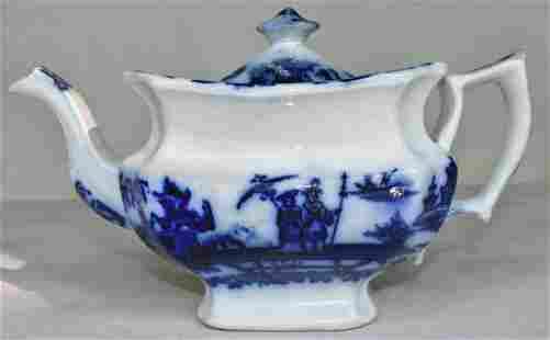 VICTORIAN FLOW BLUE TEAPOT, 19TH C.