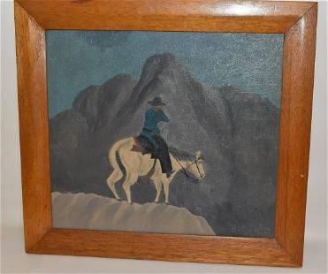 O/C COWBOY ON HORSEBACK SIGNED BILL SUTTON