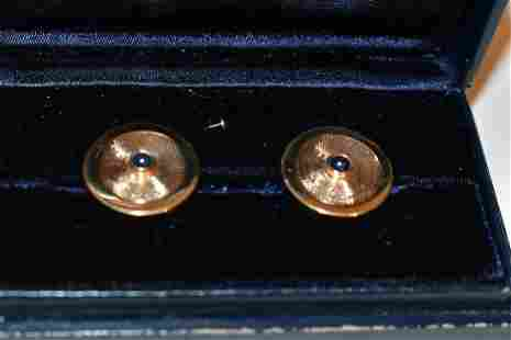 PAIR TIFFANY & CO. 14KT YELLOW GOLD/SAPPHIRE CUFF LINKS