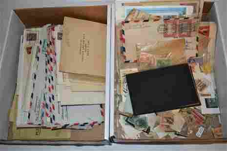 LOT (2) BOXES ASSORTED US POSTAGE STAMPS/POSTAL CARDS