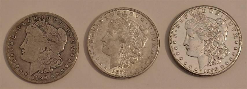 LOT (3) MORGAN SILVER DOLLARS 1878-S, 1890-CC, 1896-O