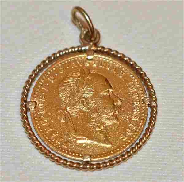 AUSTRIAN DUCAT GOLD COIN W/ BEZEL MOUNTED FOR PENDANT