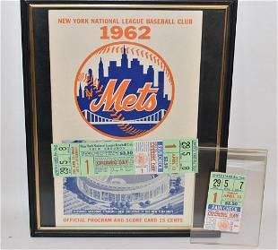 3 EXCPT. 1962 NY METS N.L. BASEBALL CLUB PROGRAM/TICKET