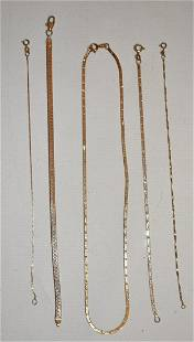 (5) CONTEMPORARY 14KT YELLOW GOLD BRACELETS/NECKLACE