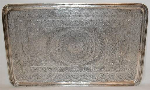 LARGE PERSIAN SILVER TRAY W/ FINE DETAIL STAMPINGS