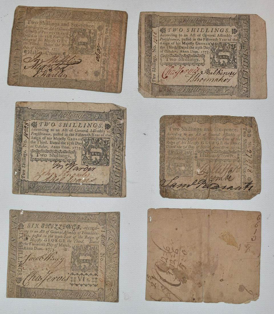 LOT (6) COLONIAL PAPER CURRENCY