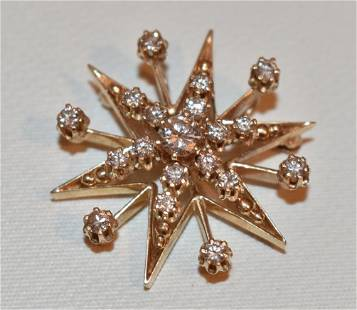 MODERN 14KT YELLOW GOLD/DIAMOND BROOCH (2.5 CTS DIAMOND