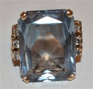 ART DECO 14KT YELLOW GOLD/AQUAMARINE/DIAMOND RING
