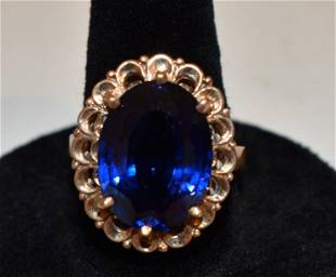 ART DECO 10KT YELLOW GOLD/BLUE TOPAZ COCKTAIL RING