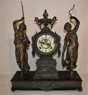 ANSONIA SPELTER FIGURAL MANTLE CLOCK W/ HUNTER/FISHER