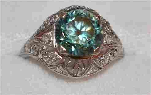 ART DECO PLATINUM/IOLITE/DIAMOND RING, C. 1920/30
