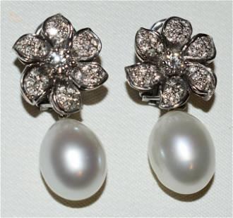 FINE ART DECO 18KT WG/PEARL/DIAMOND EARRINGS SIGNED