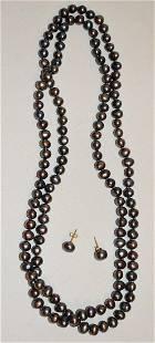 SET (3) TAHITI BLACK PEARLS/EARRINGS, C.1960