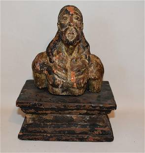 SPANISH COLONIAL CARVED/PAINTED SANTOS FIGURE ON PLINTH