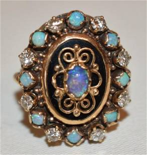 VICTORIAN 14KT YELLOW GOLD/ENAMELED/OPAL & DIAMOND RING