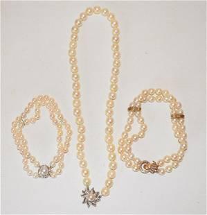 DECO 14KT WH./YW GOLD/PEARL/DIAMOND BRACELETS/NECKLACE
