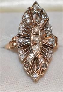 ART DECO 14KT YELLOW/WHITE GOLD/DIAMOND RING, C. 1940