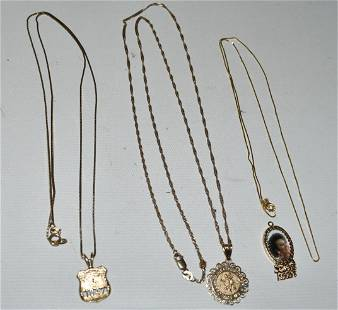 LOT 10/14KT YELLOW GOLD CHARMS & NECKLACES