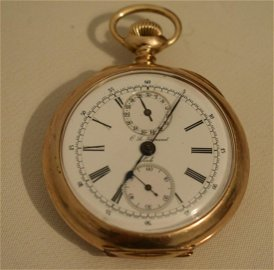 RARE C.L. GUINAND 14KT YW GOLD CHRONOGRAPH TRIPLE DIAL