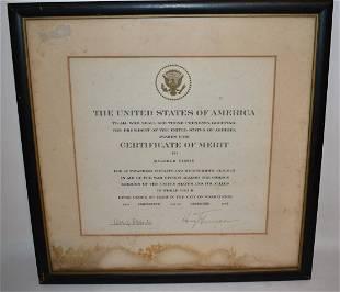 U.S. CERTIFICATE OF MERIT SIGNED HARRY S. TRUMAN