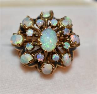 ART DECO 14KT YELLOW GOLD/ENAMELED/OPAL COCKTAIL RING