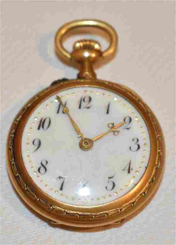 LADIES ART DECO 14KT YELLOW GOLD (TESTED) POCKET WATCH