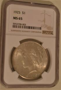 1925 P PEACE SILVER DOLLAR GRADED MS65