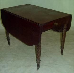 FINE SHERATON MAHOGANY DROP LEAF BREAKFAST TABLE, 1820