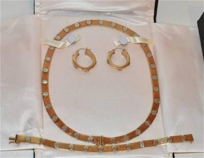 MID-CENT. STAR 14KT YW/WH GOLD NECK./BRAC./EARRINGS