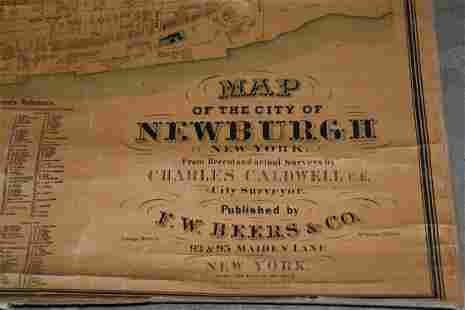 SELDOM SEEN MAP OF THE CITY OF NEWBURGH, NY, CALDWELL