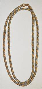 MODERN 14KT YELLOW/WHITE GOLD NECKLACE, C. 1960