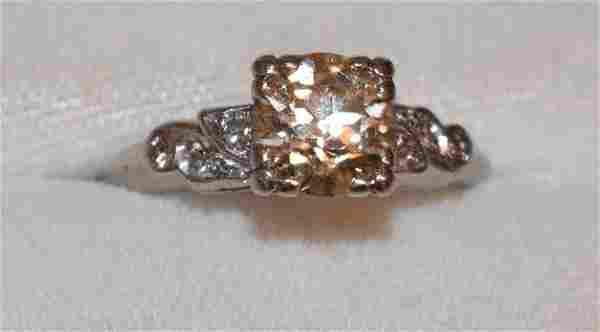 ART DECO PLATINUM DIAMOND RING W/ 1.5 CT CENTER STONE