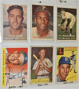 (6) 1954/57 TOPPS/BOWMAN BASEBALL CARDS INCL. CLEMENTE