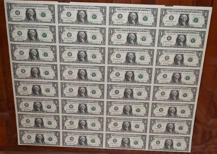 LARGE UN-CUT SHEET ONE DOLLAR BILLS, 36 SERIES, 1999