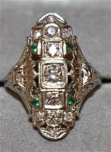 FINE ART DECO 20KT WHITE GOLD/DIAMOND/EMERALD RING