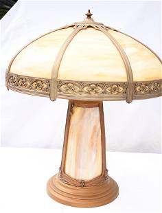 DECO SLAG GLASS TABLE LAMP, C. 1930