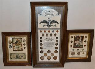 LOT (3) FRAMED COIN DISPLAYS INCL. SILVER