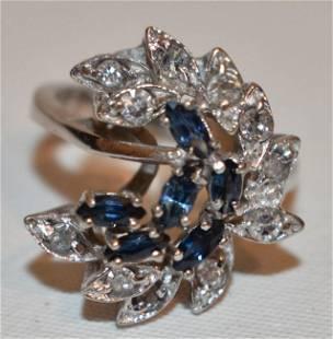ART DECO 14KT WHITE GOLD/DIAMOND/SAPPHIRE RING, C. 1940