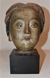 RARE CHINESE PAINTED/LACQUERED MUD HEAD 13/14TH C.