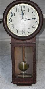 ANSONIA OAK #2 LONG DROP REGULATOR CLOCK, C. 1910