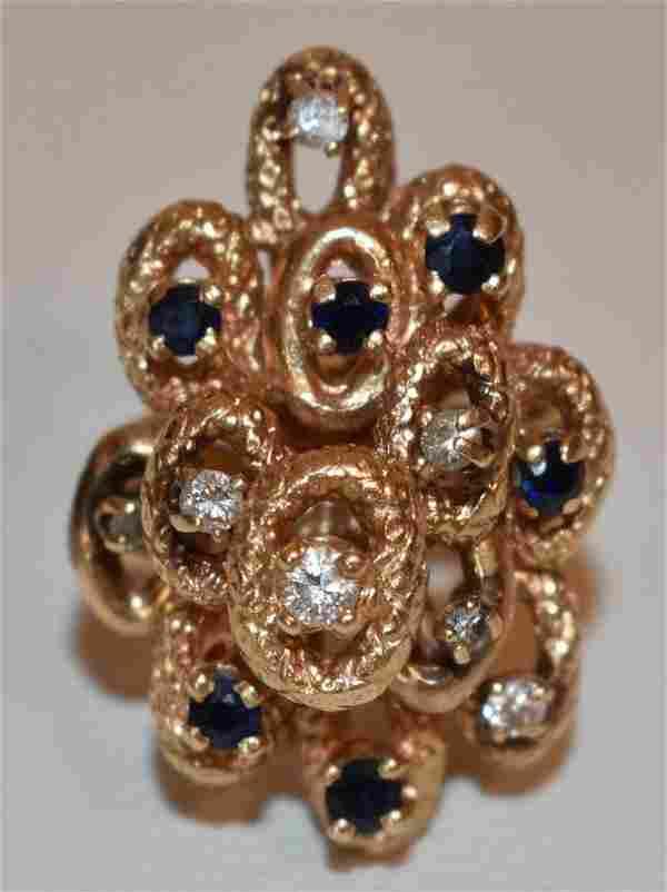 FINE GEORGIAN 14KT YG/DIAMOND/SAPPHIRE COCKTAIL RING
