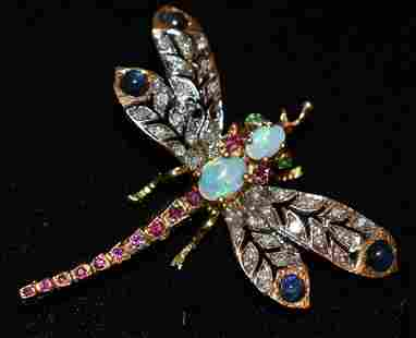 EXCEPTIONAL DECO 14KT YW/WH GOLD DRAGONFLY BROOCH