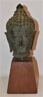 THAILAND CARVED STONE BUDDHA HEAD, 16/17TH C.