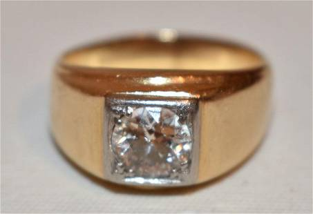 ART DECO 14KT YELLOW GOLD/DIAMOND SOLITAIRE RING