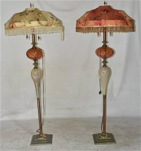 PAIR DESIGNER STYLE FLOOR LAMPS, 20/21ST C.