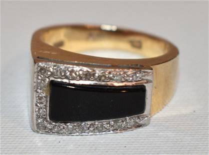 FINE ART DECO 14KT YELLOW/WHITE GOLD/DIAMOND/ONYX RING