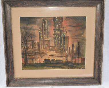 W/C INDUSTRIAL FACILITY SIGNED WALSH (FRANK 20TH C.)