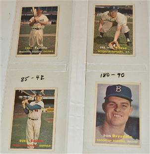 (4) 1957 TOPPS BASEBALL CARDS INCL DON DRYSDALE ROOKIE