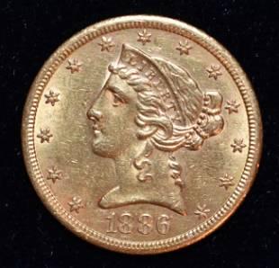 1886-S LIBERTY 1/4 EAGLE $5 GOLD PIECE