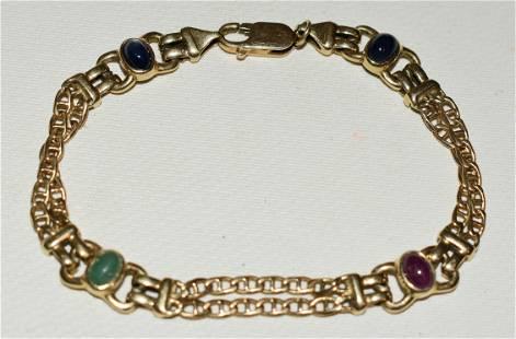 MODERN 14KT YELLOW GOLD/HARDSTONE BRACELET, C. 1950/60